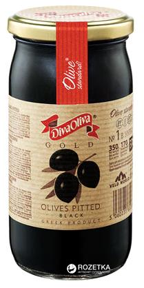 Маслини чорні без кісточки Diva Oliva Gold 370 мл (5060235651304) - зображення 1