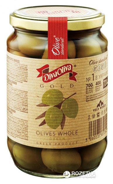 Оливки зеленые с косточкой Diva Oliva Gold 720 мл (5060235651342) - изображение 1