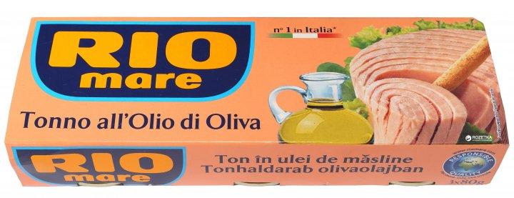 Тунець в оливковій олії Rio Mare 3 шт х 80 г (8004030344938) - зображення 1