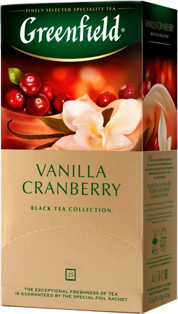 Чай пакетированный Greenfield Vanilla Cranberry  25 x 1.5 г (4823096802404) - изображение 1