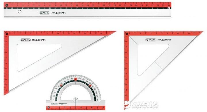 Набор геометрический 4 предмета Herlitz My Pen Urban небьющийся пластик Прозрачный с красным (11368222U) - изображение 1
