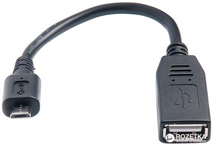 Перехідник Real-El OTG USB 2.0 AF - microUSB BM 0.1 м Black - зображення 1