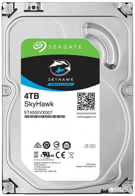 Жесткий диск Seagate SkyHawk HDD 4TB 5900rpm 64MB ST4000VX007 3.5 SATAIII - изображение 1