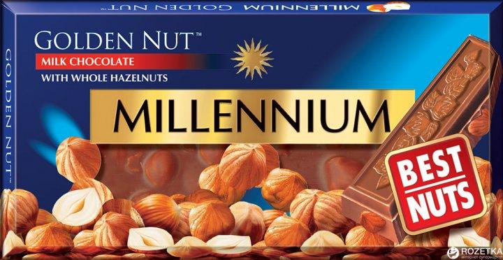 Шоколад Millennium Gold молочный с цельным фундуком 100 г (4820005193059) - изображение 1