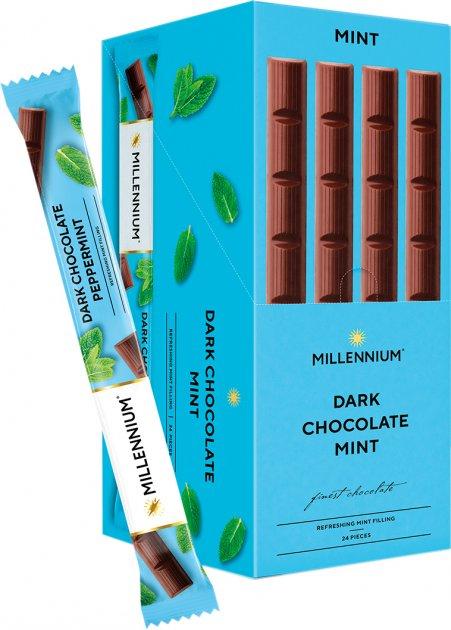 Упаковка шоколада Millennium Черный с мятной начинкой 38 г х 24 шт (4820075504229) - изображение 1