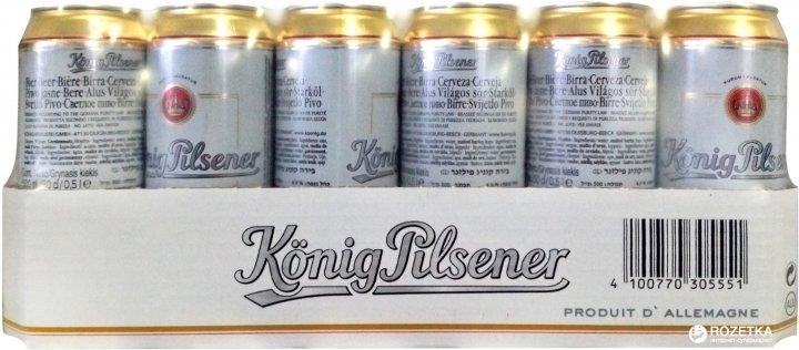 Упаковка пива Konig Pilsener світле фільтроване 4.9% 0.5 л x 24 шт. (4100770305551) - зображення 1