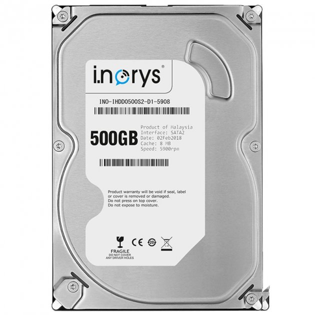 """Жорсткий диск i.norys 500GB 5900 rpm 8MB (INO-IHDD0500S2-D1-5908) HDD 3,5"""" внутрішній для ПК - зображення 1"""