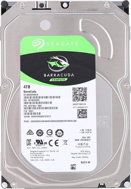 Жесткий диск Seagate BarraCuda HDD 4TB 5400rpm 256MB ST4000DM004 3.5 SATA III - изображение 1