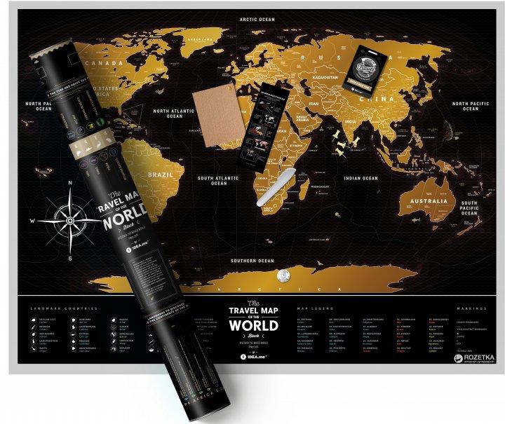 Скретч-карта мира 1DEA.me Travel Map Black World (BW) - изображение 1