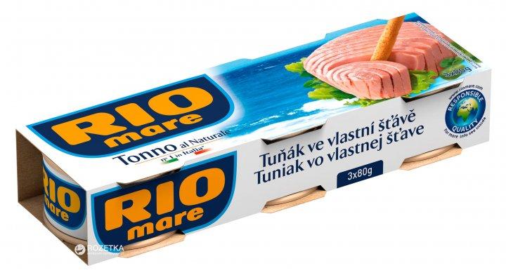 Тунець у власному соку Rio Mare 3 шт. х 80 г (8004030341562) - зображення 1