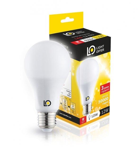 Світлодіодна лампа Light Offer LED A65 12W E27 4000K 1350Lm (LЕD - 12 - 022) - зображення 1