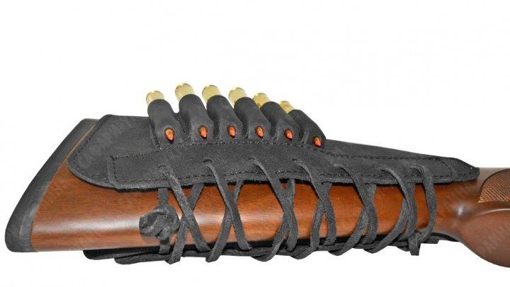 Патронташ на приклад кожа Ретро со вставкой нарезные черный (10205/1) - изображение 1