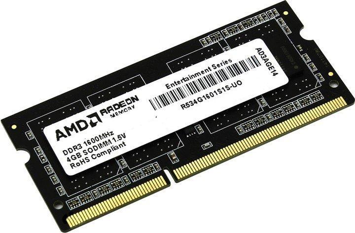 Оперативная память AMD SODIMM DDR3-1600 4096MB PC3-12800 (R534G1601S1S-U) - изображение 1
