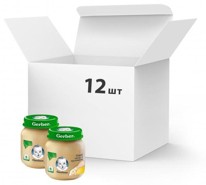 Упаковка овоще-мясного пюре Gerber Нежные овощи с кроликом с 6 месяцев 130 г х 12 шт (7613036011266) - изображение 1
