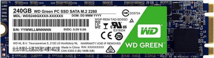 Western Digital Green SSD 240GB M.2 2280 SATAIII 3D NAND (TLC) (WDS240G2G0B) - изображение 1