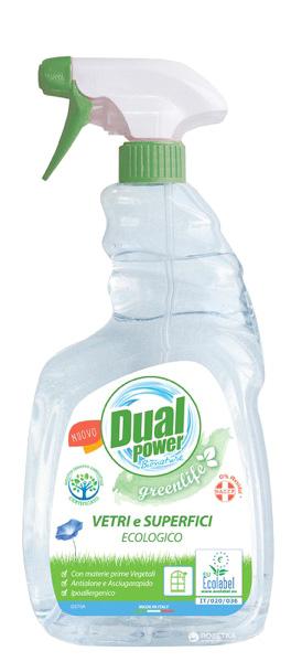 Многофункциональное средство для чистки стекол, зеркал Dual Power Green Life 750 мл (8032680395291) - изображение 1
