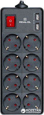 Сетевой удлинитель Real-El RS-8 Protect USB Charge 3 м Black (EL122300020) - изображение 1