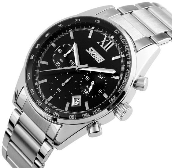 Мужские наручные часы Skmei Tandem, металлические кварцевые с датой - изображение 1