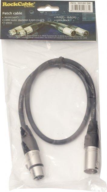 Мікрофонний патч-кабель RockCable RCL30180 D6 0.6 м Black - зображення 1