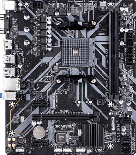 Материнська плата Gigabyte B450M H (sAM4, AMD B450, PCI-Ex16) - зображення 1