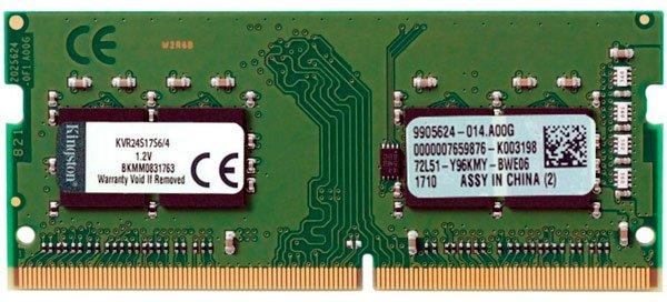 Оперативна пам'ять Kingston SODIMM DDR4-2400 4096MB PC4-19200 (KVR24S17S6/4) - зображення 1