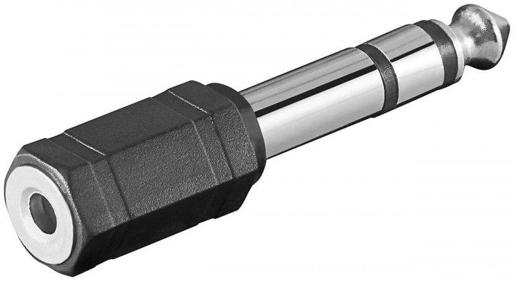 Перехідник аудіо Goobay Jack 3.5mm 3pin-6.3mm F/M адаптер Stereo Plastic чорний(75.01.1100) - зображення 1