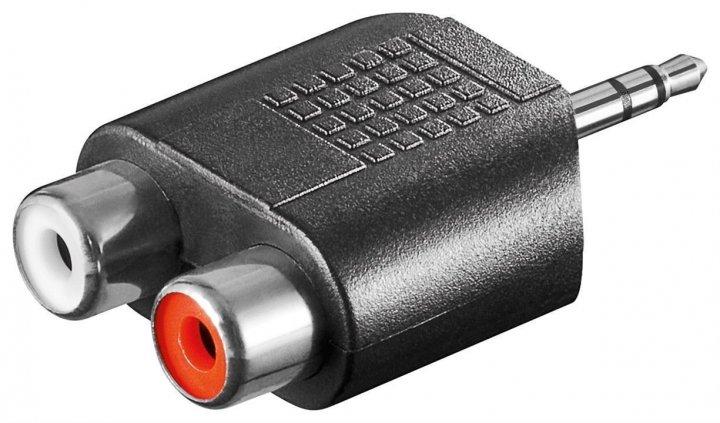 Перехідник аудіо Goobay Jack 3.5mm 3pin-RCAx2 M/F адаптер Stereo Left/Right Y-form чорний(75.01.1604) - зображення 1