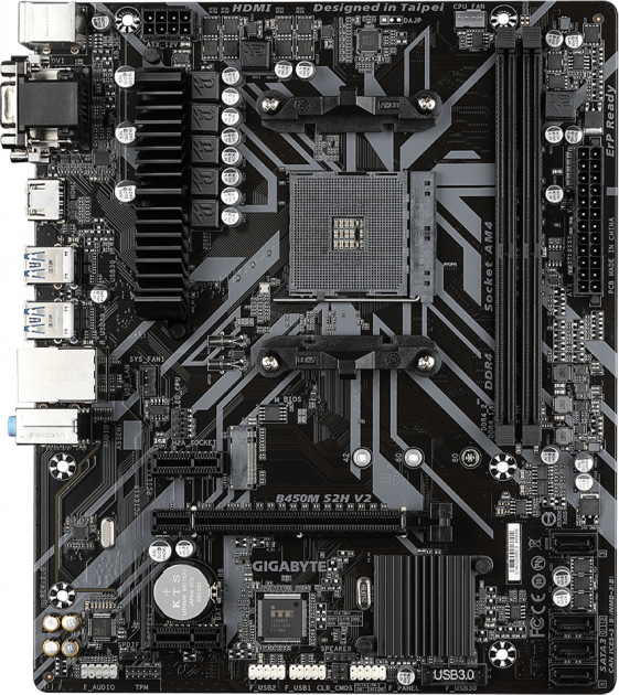 Материнська плата Gigabyte B450M S2H V2 (sAM4, AMD B450, PCI-Ex16) - зображення 1