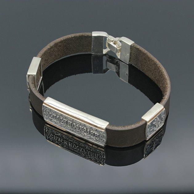 Серебряный браслет с золотыми вставками Спаси и Сохрани на кожанном ремешке 21 - изображение 1