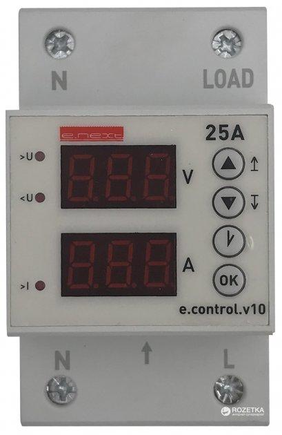 Реле контроля напряжения E.NEXT однофазное 25А c индикацией e.control.v10 (p0690015) - изображение 1