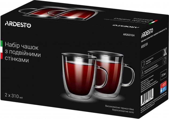 Набір чашок з ручками Ardesto з подвійними стінками для лате 310 мл х 2 шт. (AR2631GH) - зображення 1