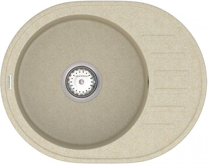 Кухонна мийка VANKOR Lira LMO 02.57 Beige + сифон одинарний VANKOR Стандарт - зображення 1