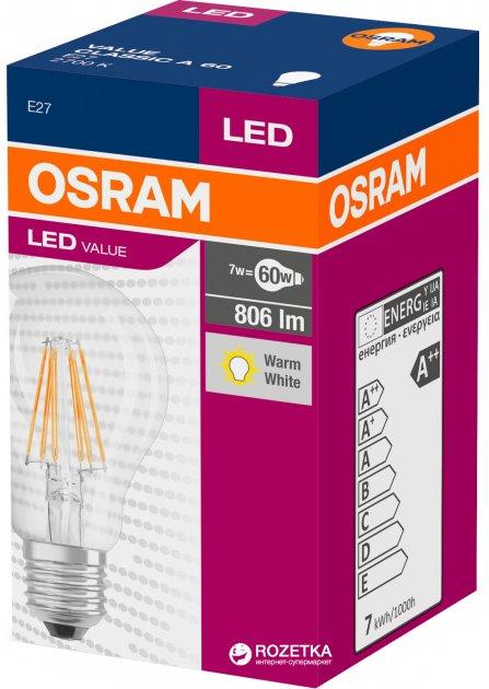 Світлодіодна лампа Osram LED Value Filament A60 7W (806Lm) 2700K E27 (4058075819658) - зображення 1