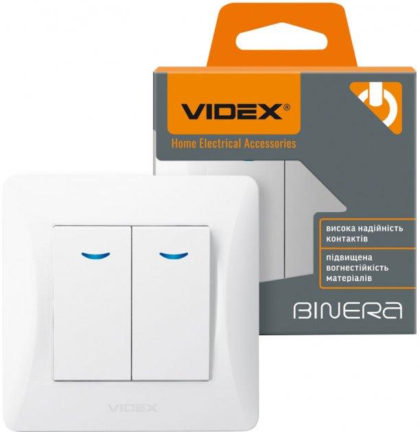2-клавішний вимикач VIDEX Binera з підсвіткою Білий (VF-BNSW2L-W) - зображення 1