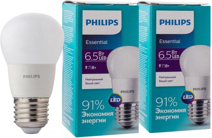 Светодиодная лампа Philips ESS LEDLuster 6.5-75W E27 840 P45NDFR 2 шт (929001887107S) - изображение 1