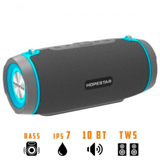 Портативна бездротова Bluetooth колонка Hopestar Hopestar H45 Party 10Вт Grey з вологозахистом IPX7 і функцією зарядки пристроїв (H45G) - зображення 1