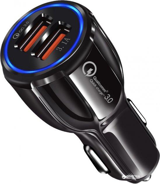 Автомобильное зарядное устройство XoKo CQC-200 2USB Qualcom 3.0 6A Black (CQC-200-BK) - изображение 1