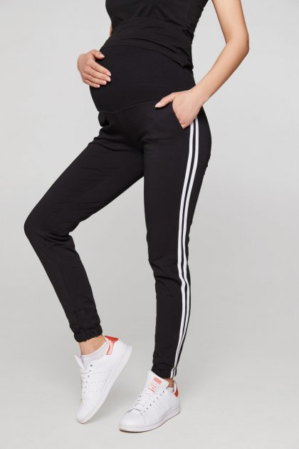 Спортивні штани з лампасами для вагітних Lullababе Lublin S Чорний - зображення 1