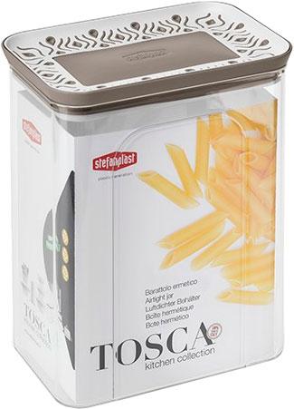 Емкость для хранения сыпучих продуктов Stefanplast Tosca 2.2 л Бело-коричневая (55650)
