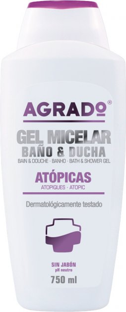 Міцелярний гель для ванни та душу Agrado Atopic Bath and Shower Gel для схильної до алергії шкіри 750 мл (8433295058197) - зображення 1