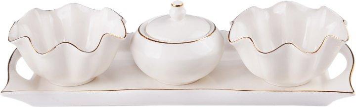 Набор для сервировки Lefard 359 фарфоровый из 5 предметов Белый с золотым кантом (359-351)