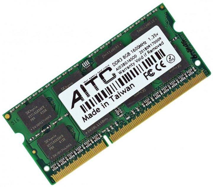 Оперативна пам'ять для ноутбука DDR3L-1600 8Gb SODIMM PC3L-12800 1.35 V AITC AID38G16SOD-L 8192MB (770008503) - зображення 1
