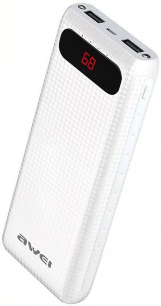 Портативна батарея AWEI P70K Power Bank 20000mAh Li-Polimer White - зображення 1