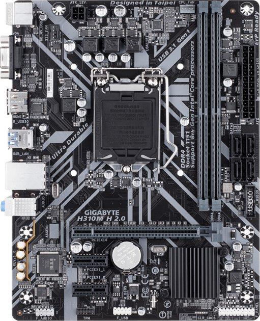 Материнская плата Gigabyte H310M H 2.0 (s1151, Intel H310, PCI-Ex16) - изображение 1