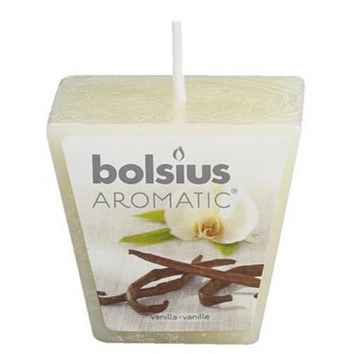 Ароматична свічка Bolsius 4,7х4,7х4,7 см Кубик 1 свічка ваніль бежевий (50175) - зображення 1