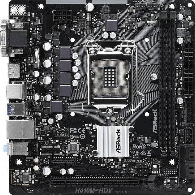 Материнська плата ASRock H410M-HDV (s1200, Intel H410, PCI-Ex16) - зображення 1
