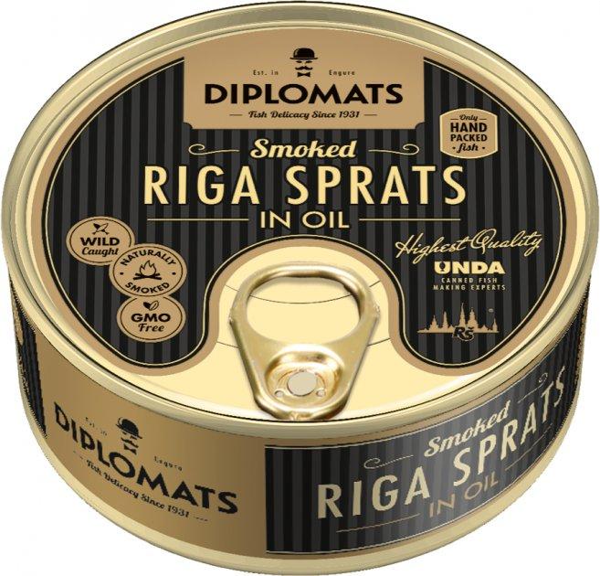 Шпроты Diplomats рижские в масле 160 г (4750010502228) - изображение 1