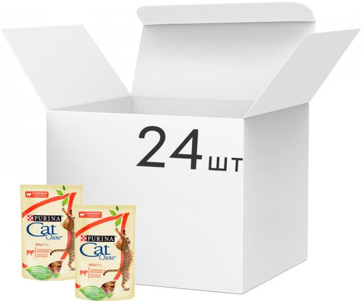 Упаковка влажного корма для кошек Purina Cat Chow Adult с говядиной и баклажанами 85 г x 24 шт (7613036595032) - изображение 1