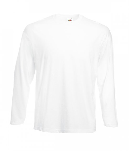 Футболка з довгим рукавом Fruit of the Loom Valueweight long sleeve M Білий (061038030M) - зображення 1