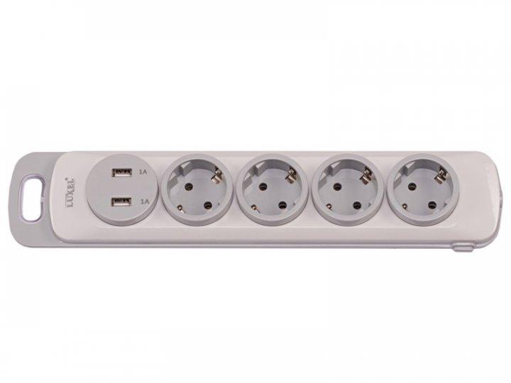 Колодка Luxel Nota 4 розетки із заземленням і вимикачем +2 USB (4351) - зображення 1